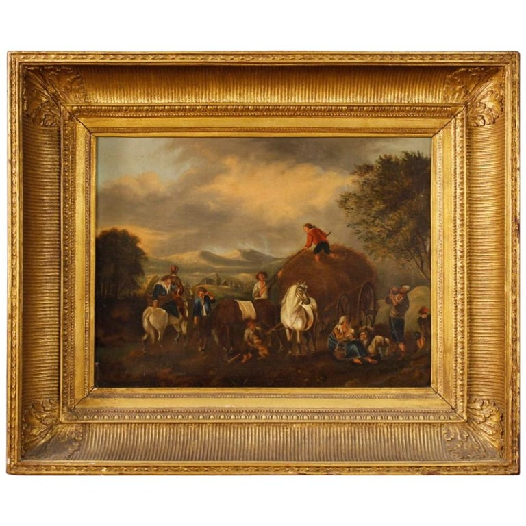 19th Century Oil on Canvas Dutch Painting Rural Scene with Characters, 1870 For Sale