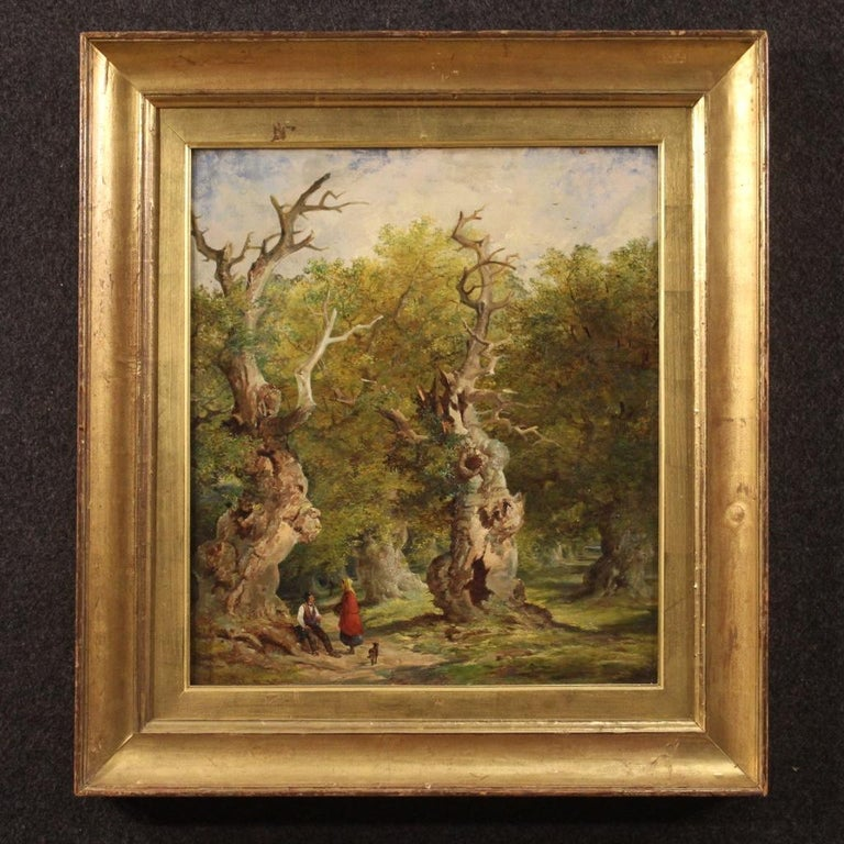 Antique English painting from late 19th century. Oil painting on canvas depicting woodland landscape with travellers (Sherwood Forest) of excellent brightness and good pictorial quality. Beautiful proportion painting with non-contemporary carved and