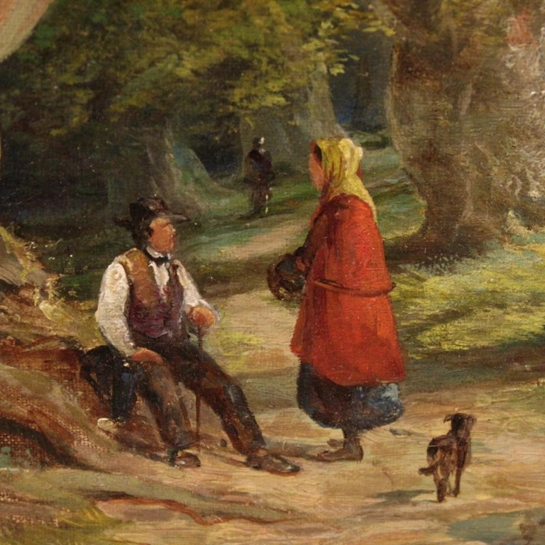 19th Century Oil on Canvas English Antique Signed Landscape Painting, 1880 For Sale 2