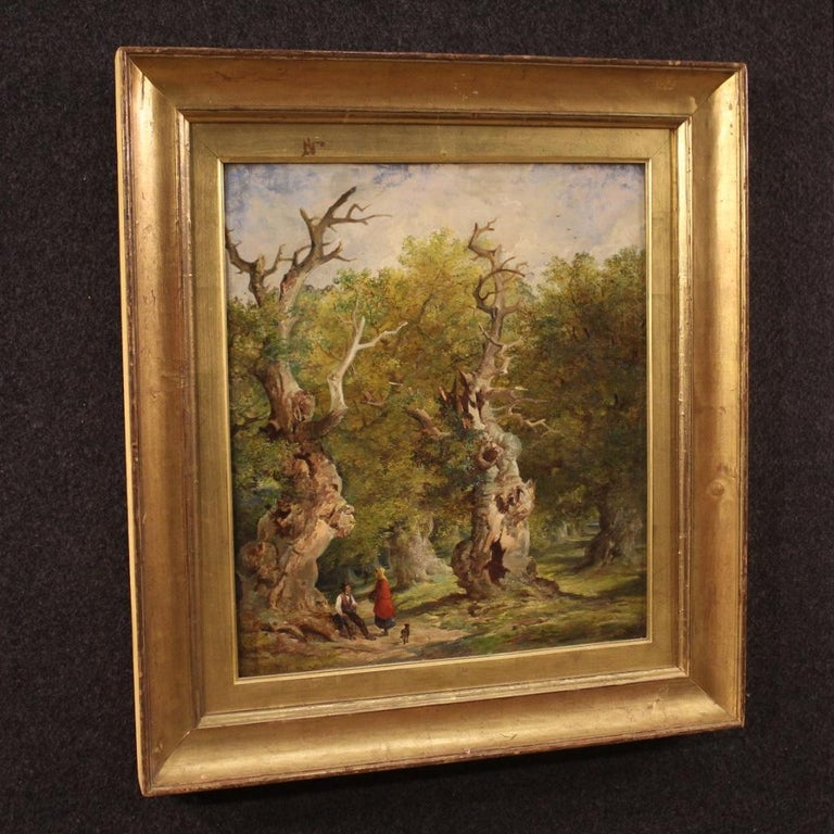 19th Century Oil on Canvas English Antique Signed Landscape Painting, 1880 For Sale 3
