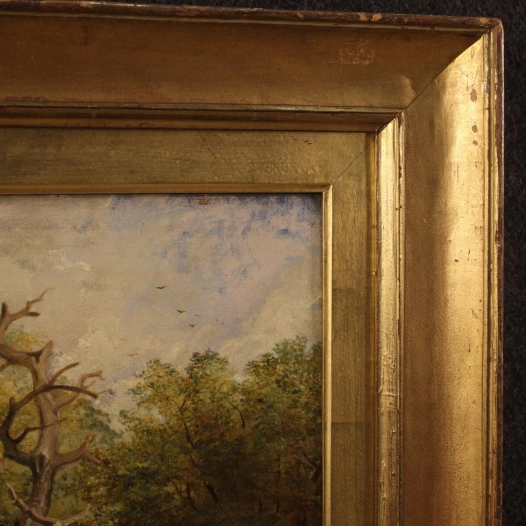 19th Century Oil on Canvas English Antique Signed Landscape Painting, 1880 For Sale 4