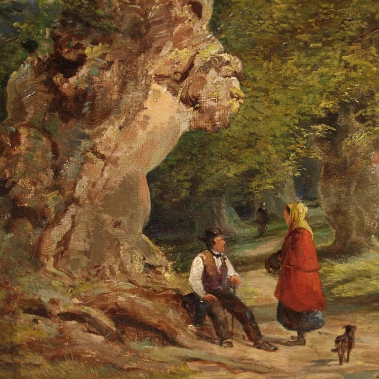 19th Century Oil on Canvas English Antique Signed Landscape Painting, 1880 For Sale 6