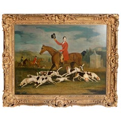 19th Century Oil on Canvas English Hunting Scene of Rider on Horse with Hounds