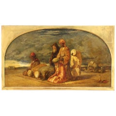19th Century Oil on Canvas English Orientalist Painting Signed and Dated, 1843