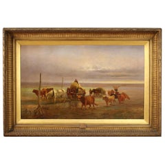 19th Century Oil on Canvas English Painting Landscape Signed and Dated, 1889