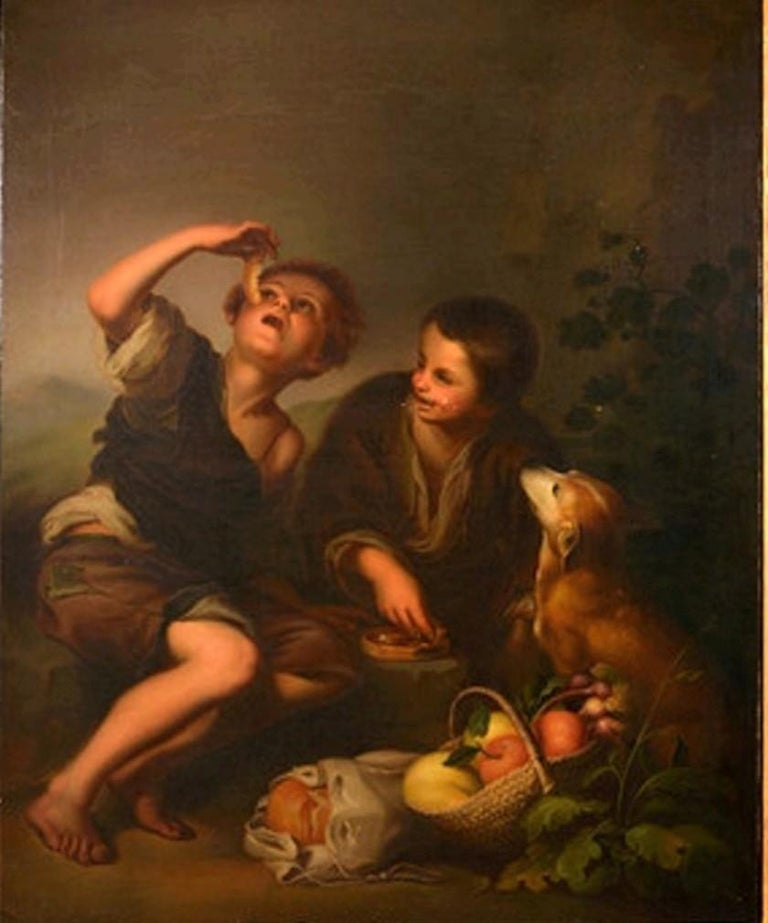 19th Century Oil on Canvas Figurative Group in the Baroque Style For Sale 4