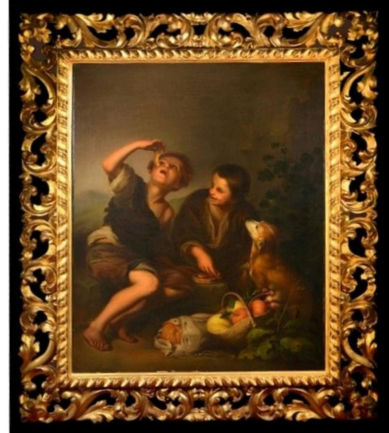 19th Century Oil on Canvas Figurative Group in the Baroque Style For Sale 1
