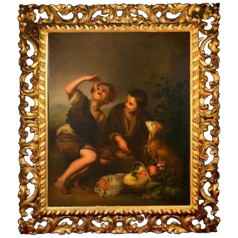 19th Century Oil on Canvas Figurative Group in the Baroque Style For Sale