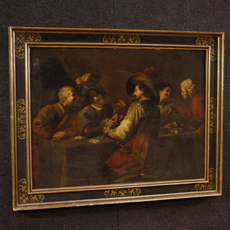 19th Century Oil on Canvas Flemish Interior Scene Painting, 1870 For Sale 5