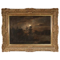 19th Century Oil on Canvas Flemish Signed Night Landscape Painting, 1850