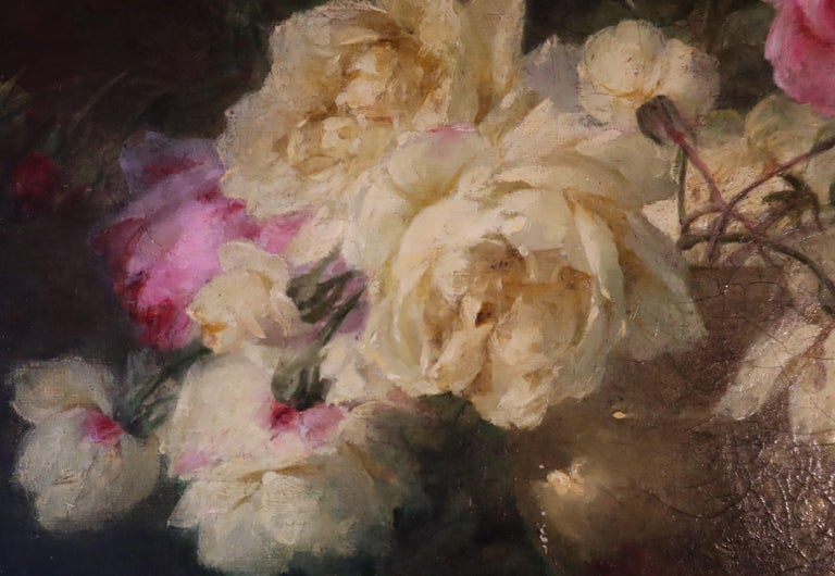 French *B 19th Century, Oil on Canvas Flower Painting, André Benoît Perrachon For Sale