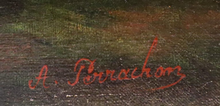 *B 19th Century, Oil on Canvas Flower Painting, André Benoît Perrachon In Distressed Condition For Sale In Lantau, HK