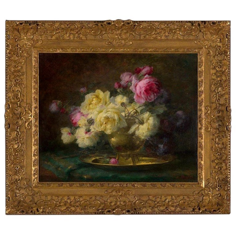 19th Century, Oil on Canvas Flower Painting, André Benoît Perrachon For Sale