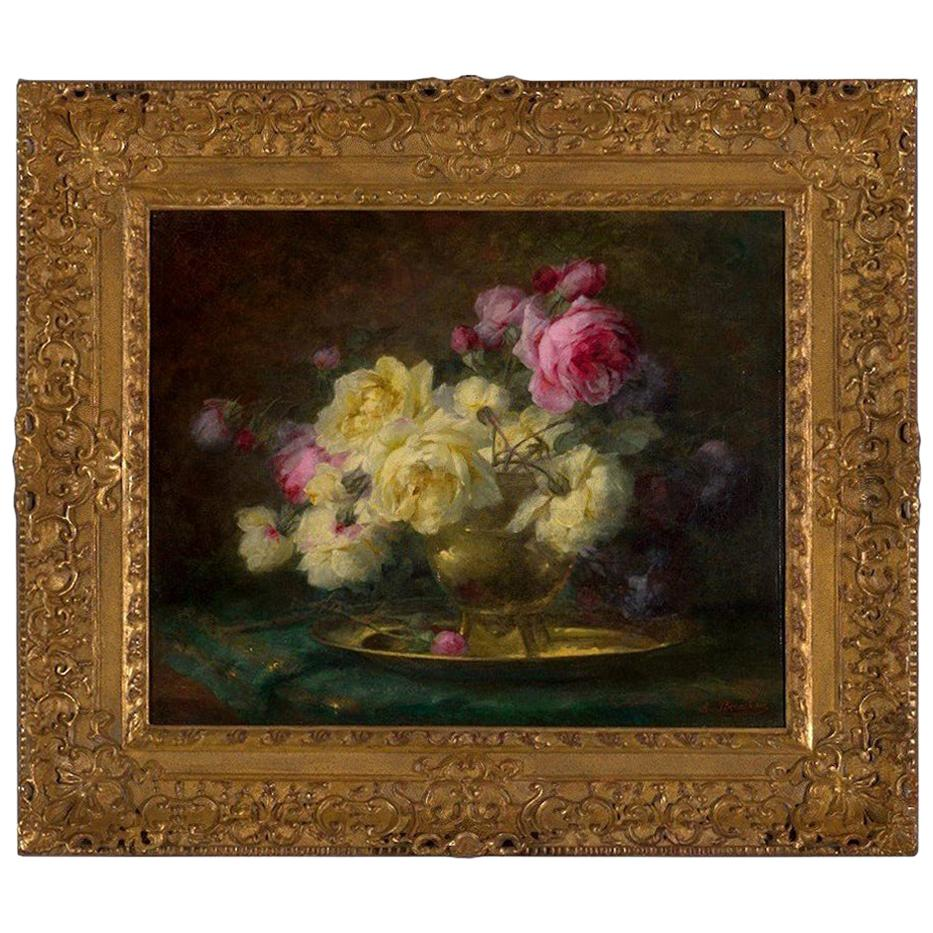 *B 19th Century, Oil on Canvas Flower Painting, André Benoît Perrachon