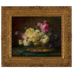 *B 19th Century, Oil on Canvas Flower Painting, André Benoît Perrachon