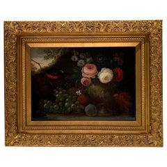 "19th Century Oil on Canvas, ""Flowers & Grapes"", Signed W. Beardoine"