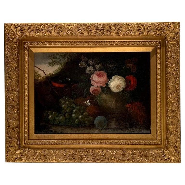 "19th Century Oil on Canvas, ""Flowers & Grapes"", Signed W. Beardoine For Sale"