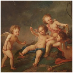 19th Century Oil on Canvas French Antique Cherubs Game Painting, 1870