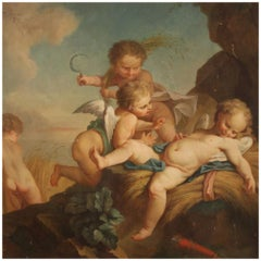 19th Century Oil on Canvas French Antique Cherubs Painting, 1870