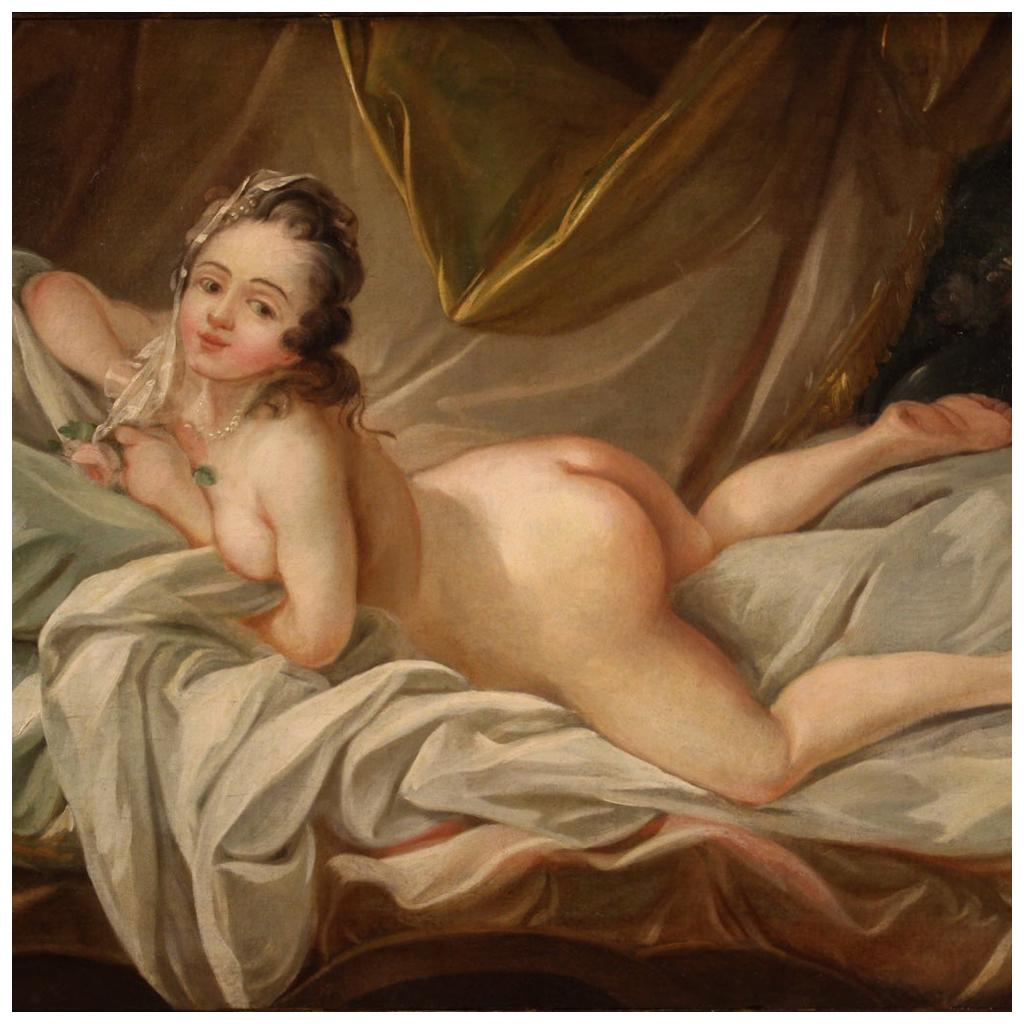 19th Century Oil on Canvas French Antique Female Nude Painting, 1820