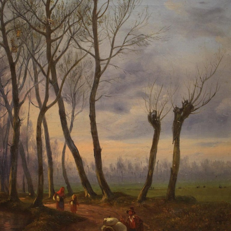 19th Century Oil on Canvas French Antique Landscape Painting, 1870 For Sale 7