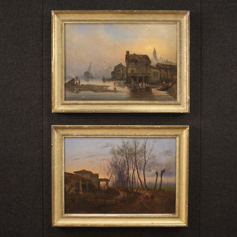19th Century Oil on Canvas French Antique Landscape Painting, 1870 In Fair Condition For Sale In Vicoforte, Piedmont