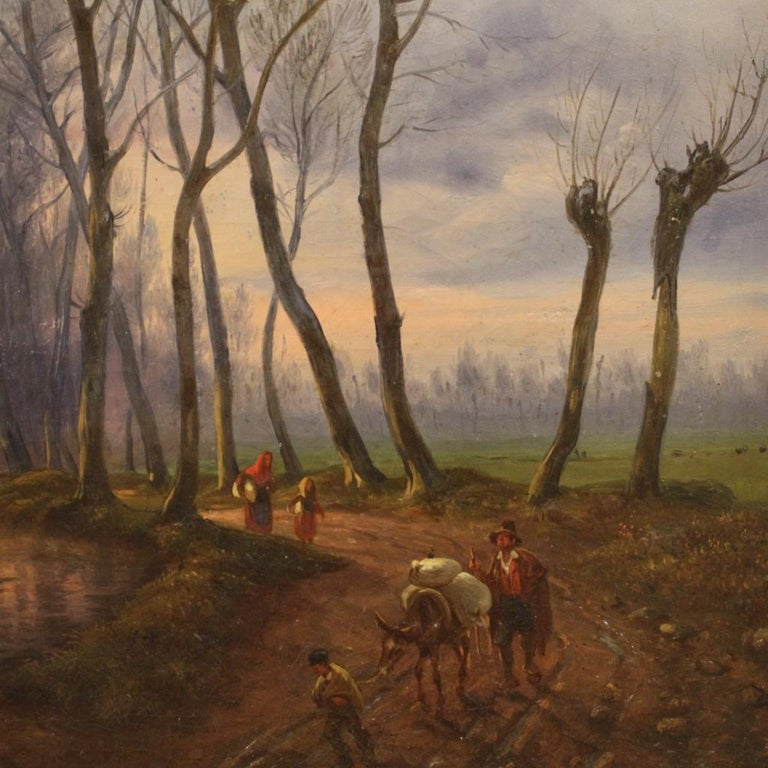 19th Century Oil on Canvas French Antique Landscape Painting, 1870 For Sale 2
