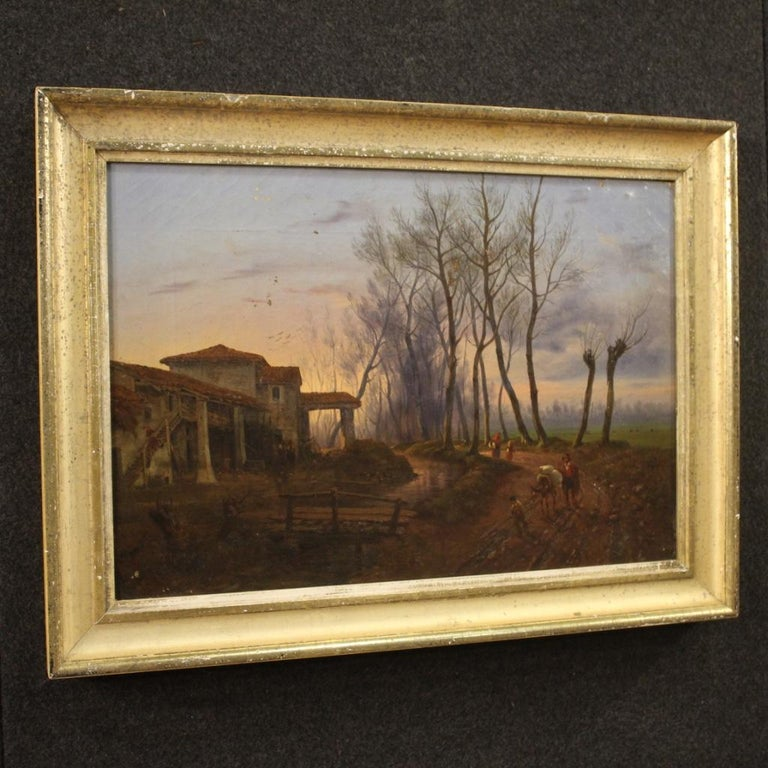 19th Century Oil on Canvas French Antique Landscape Painting, 1870 For Sale 5