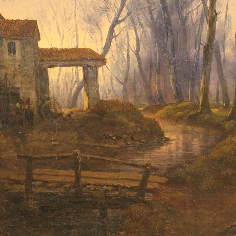 19th Century Oil on Canvas French Antique Landscape Painting, 1870 For Sale 6