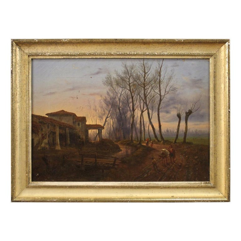 19th Century Oil on Canvas French Antique Landscape Painting, 1870 For Sale