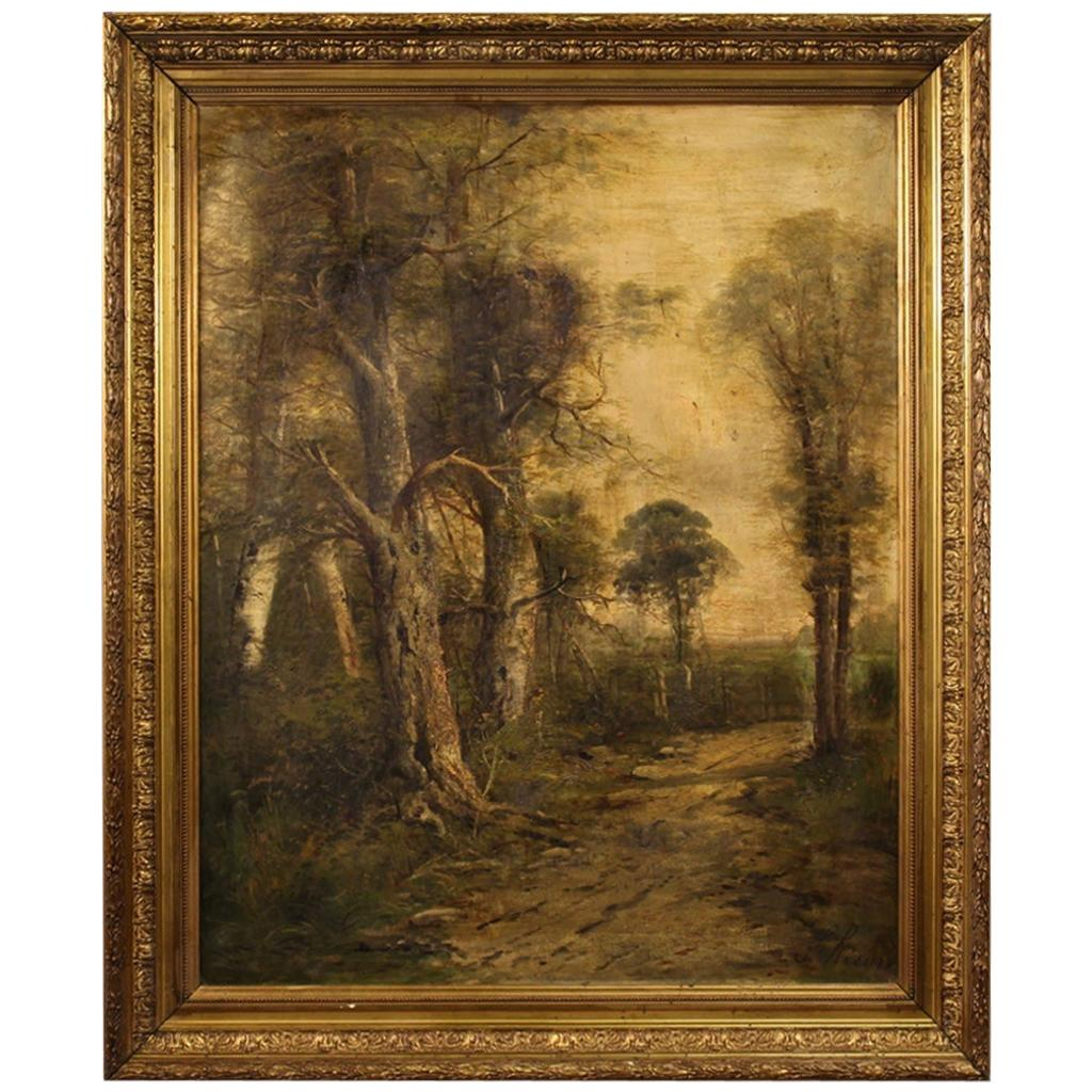19th Century Oil on Canvas French Antique Signed Landscape Painting, 1870