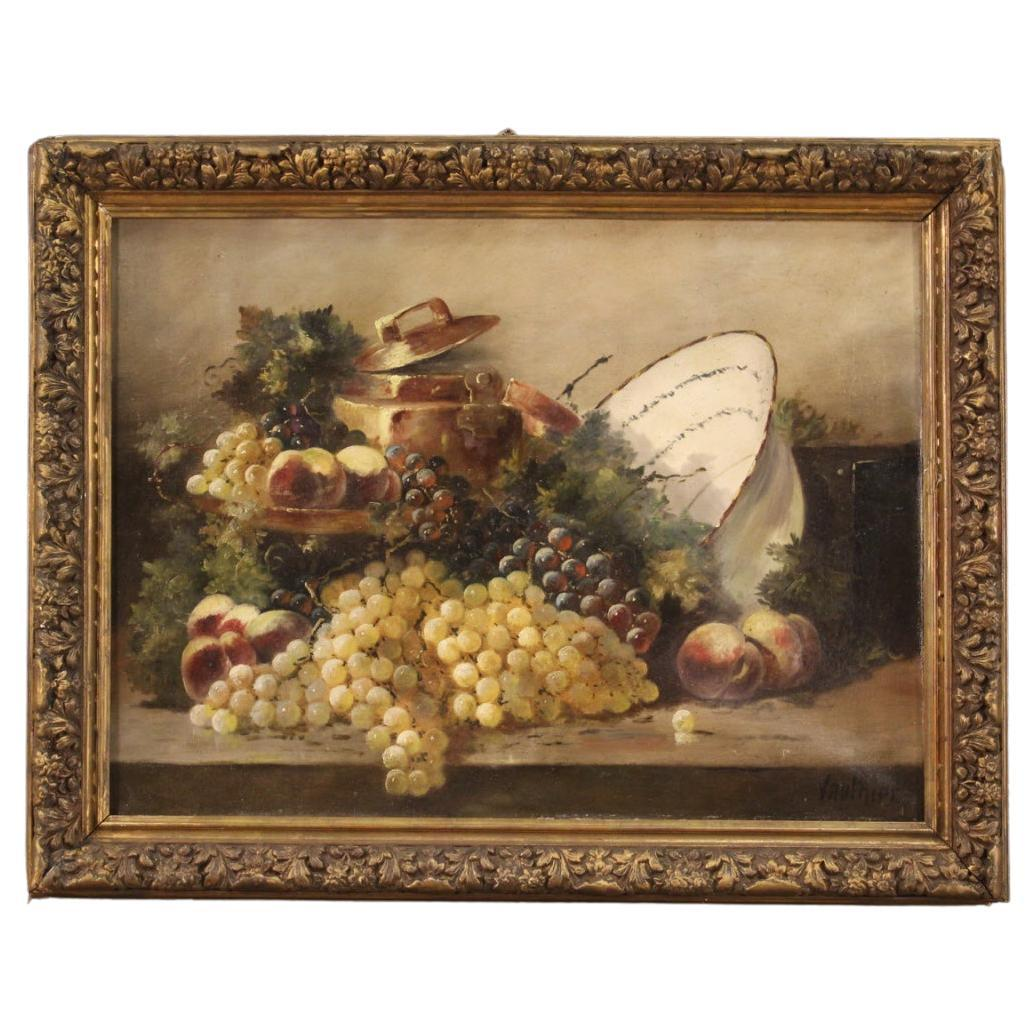19th Century Oil on Canvas French Antique Signed Still Life Painting, 1880