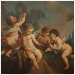 19th Century Oil on Canvas French Cherubs Game Painting, 1870