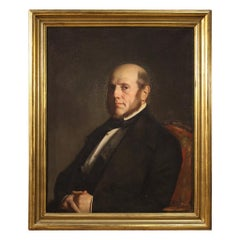19th Century Oil on Canvas French Gentleman Portrait Painting, 1848