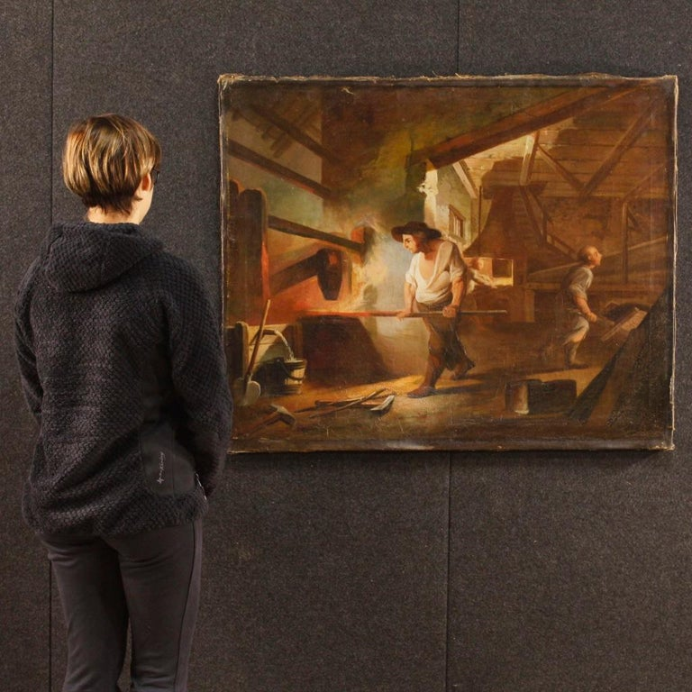 19th Century Oil on Canvas French Interior Scene Painting, 1880 For Sale 9