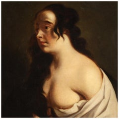 19th Century Oil on Canvas French Painting Female Nude Portrait, 1850