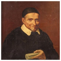 19th Century Oil on Canvas French Painting Portrait of a Priest, 1880