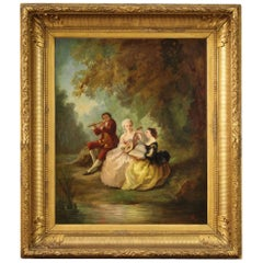 19th Century Oil on Canvas French Painting Romantic Concertino in the Park, 1850