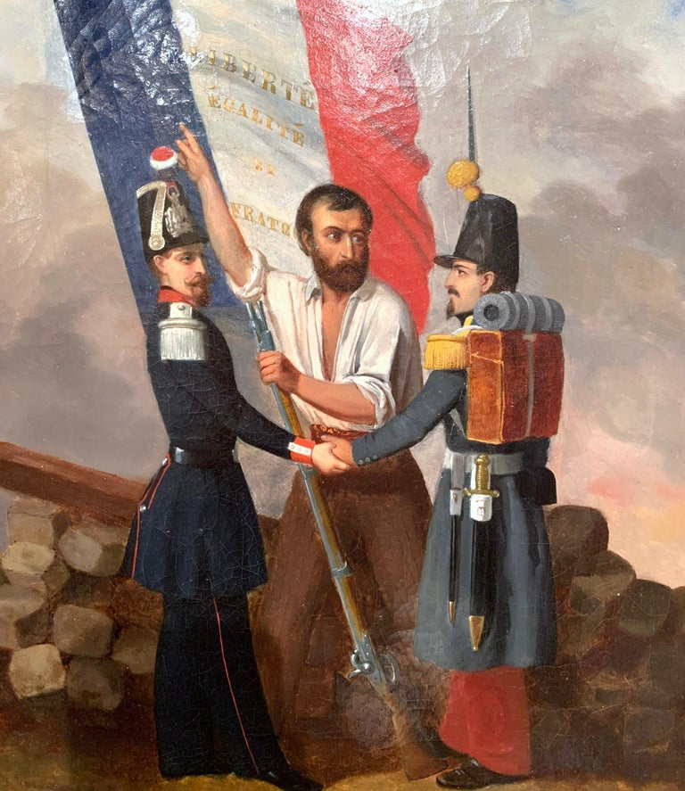 Set in the original carved giltwood frame, this antique oil on canvas was painted in France, circa 1849, the art work depicts two French soldiers in hard discussion with a man carrying the tricolor flag. The man is pointing out the national motto of