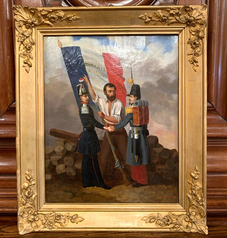 Hand-Carved 19th Century Oil on Canvas French Revolution Painting Signed and Dated 1849 For Sale