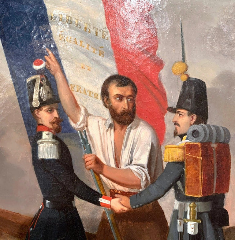 19th Century Oil on Canvas French Revolution Painting Signed and Dated 1849 For Sale 1