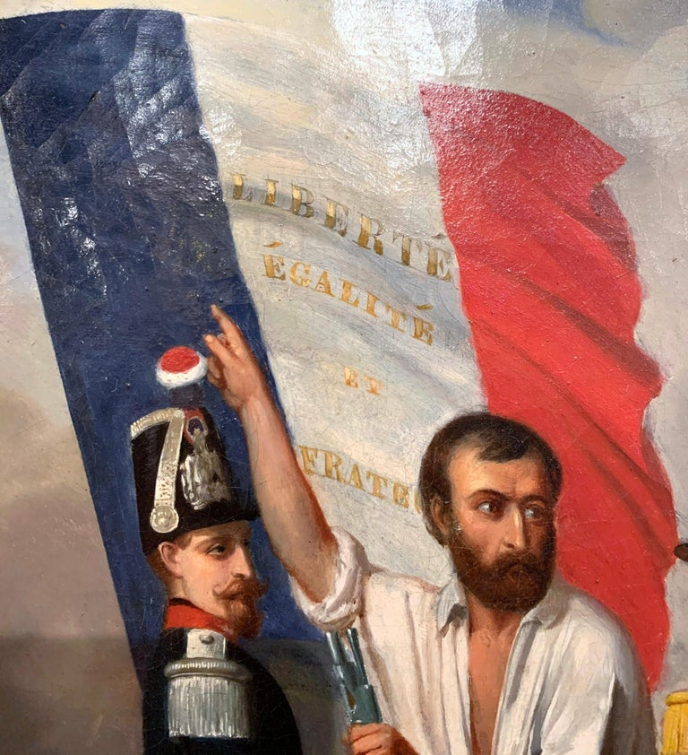 19th Century Oil on Canvas French Revolution Painting Signed and Dated 1849 For Sale 2
