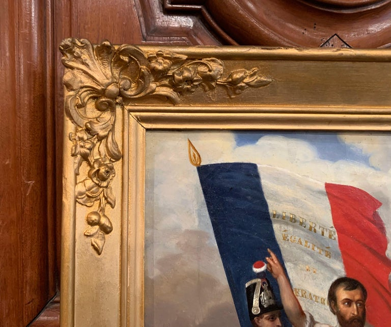 19th Century Oil on Canvas French Revolution Painting Signed and Dated 1849 For Sale 3