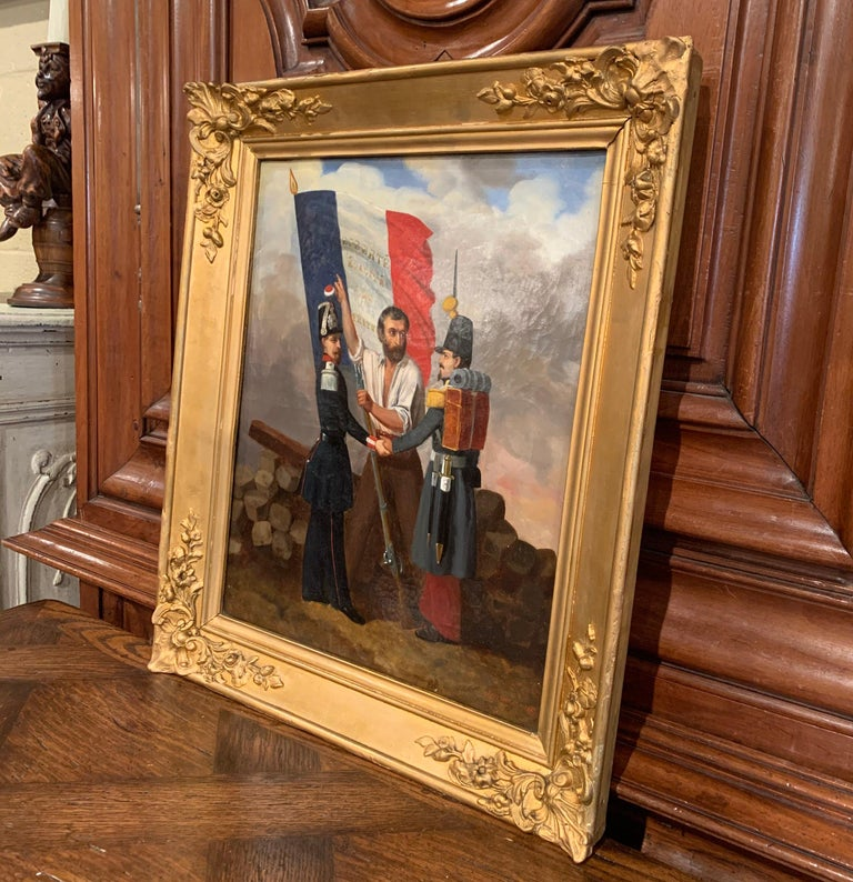 19th Century Oil on Canvas French Revolution Painting Signed and Dated 1849 For Sale 4