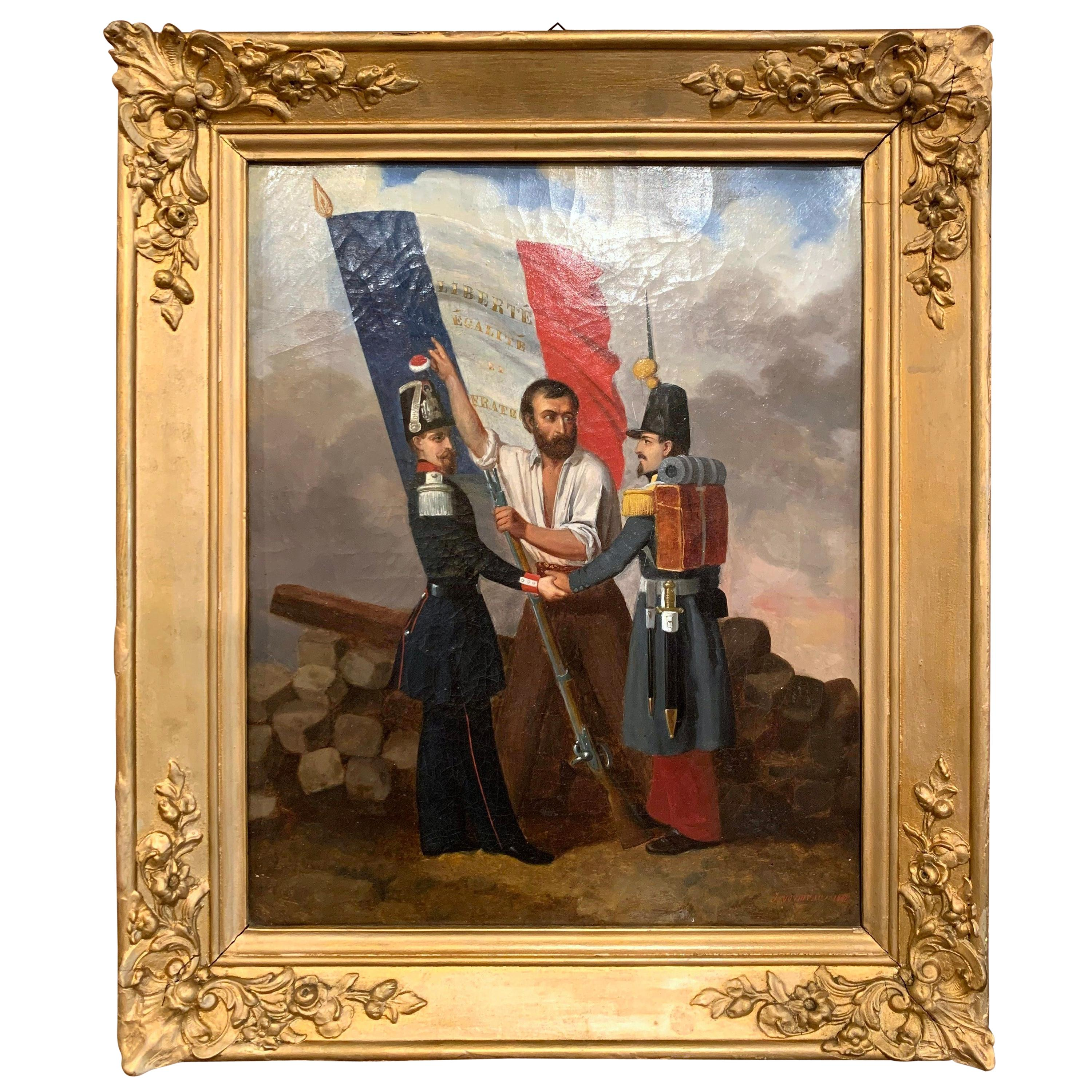 19th Century Oil on Canvas French Revolution Painting Signed and Dated 1849