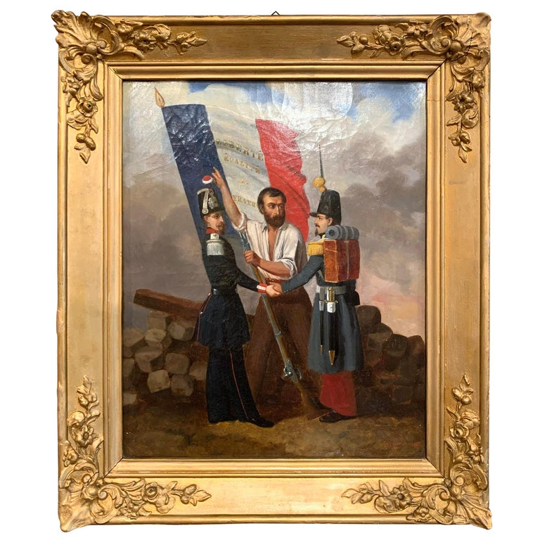 19th Century Oil on Canvas French Revolution Painting Signed and Dated 1849 For Sale