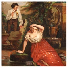 19th Century Oil on Canvas French Romantic Painting Reflection in the Well, 1860