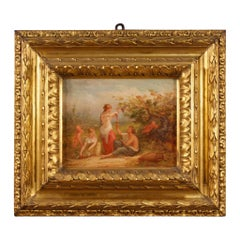 19th Century Oil on Canvas French Signed Antique Neoclassical Scene Painting