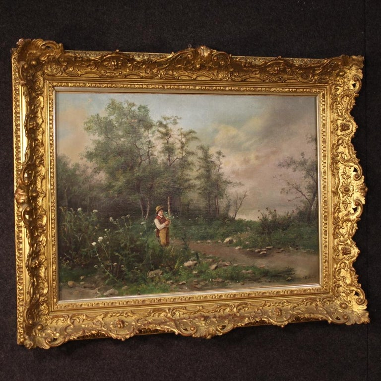 19th Century Oil on Canvas French Signed Landscape Painting, 1880 For Sale 6