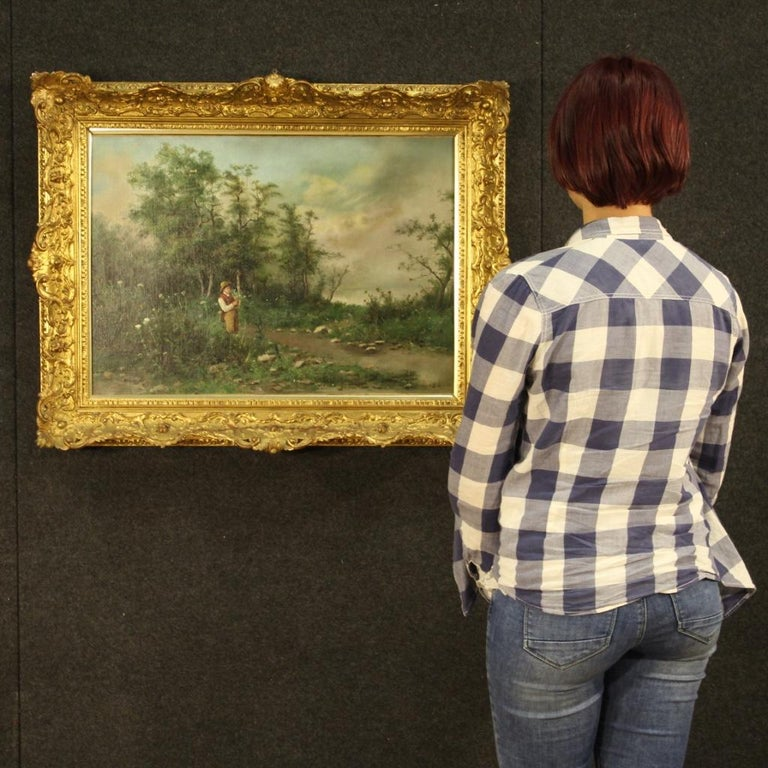19th Century Oil on Canvas French Signed Landscape Painting, 1880 For Sale 8